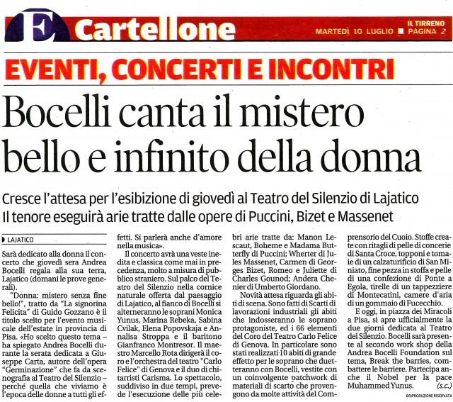 Bocelli canta il mistero bello e infinito della donna